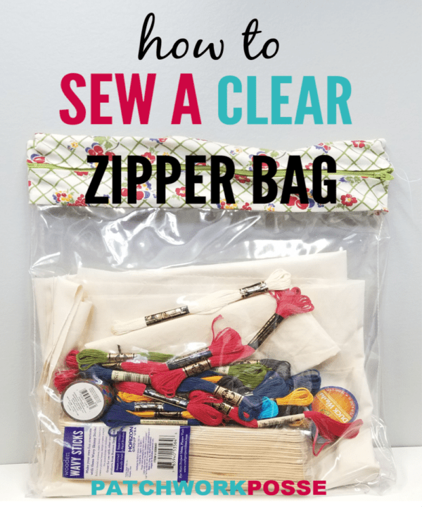 This clear bag tutorial will show you how you can sew your own clear bag! Great for keeping supplies and projects together. You can see all items inside! #Sewing #bag #diy