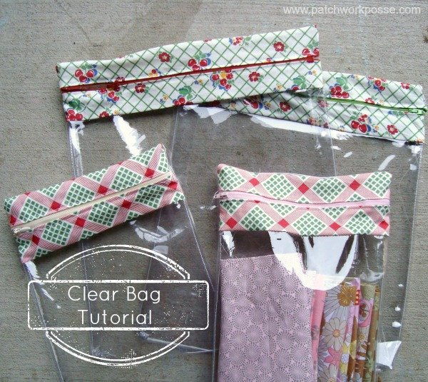 clear bag tutorial with zipper topThis clear bag tutorial will show you how you can sew your own clear bag! Great for keeping supplies and projects together. You can see all items inside! | patchwork posse