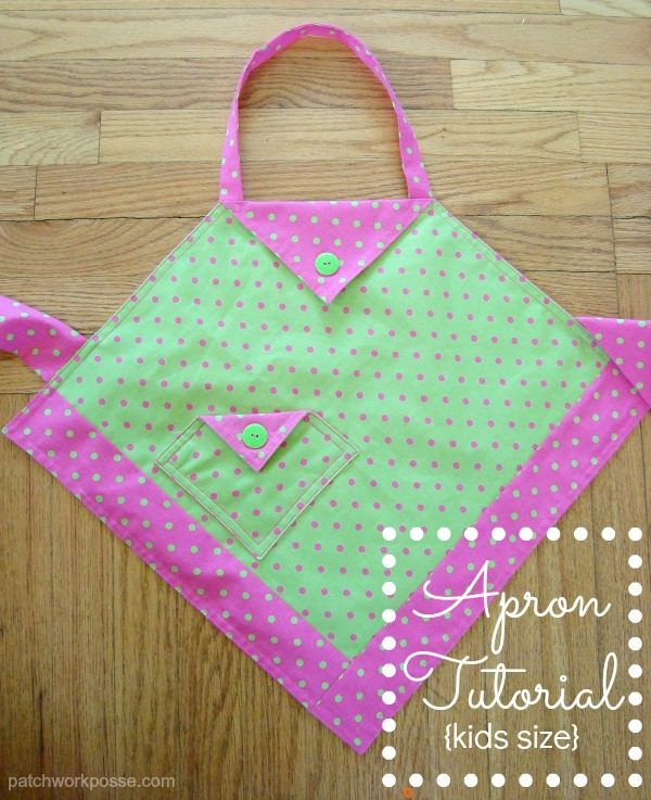 Simple apron tutorial.  This kid sized apron is perfect for your favorite little cook.  It features a pocket, neck strap and ties in the back. Can be adjusted for larger kids or even adults!