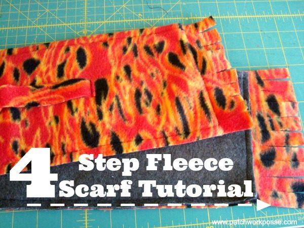 4 step fleece scarf tutorial |kids love them! | patchwork posse #winter #scarf #freepattern