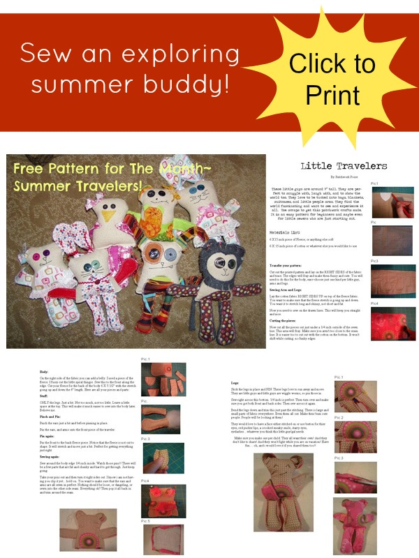 summer traveler pattern plushie tutorial patchworkposse.com