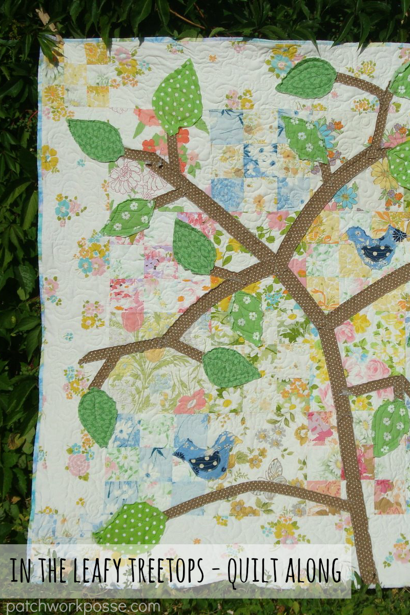 In the leafy treetops- free quilt along and pattern.  I really like the background and the raw edge applique. Simple and fun!