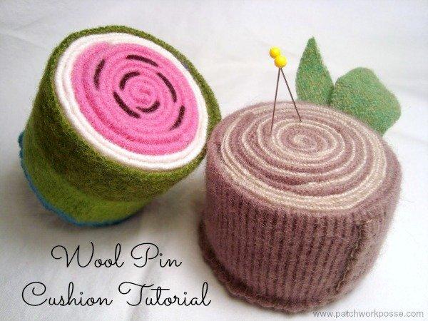 Wool Pincushions Tutorial / patchworkposse.com #pincushion #tutorial #wool #upcycle