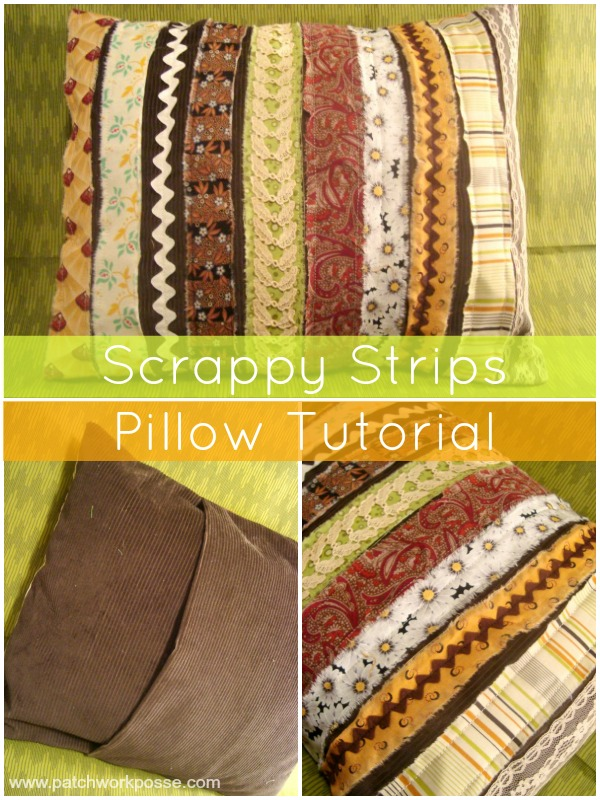 Sew a scrap fabric and ribbon stiped pillow.  Raw edges and shabby chic