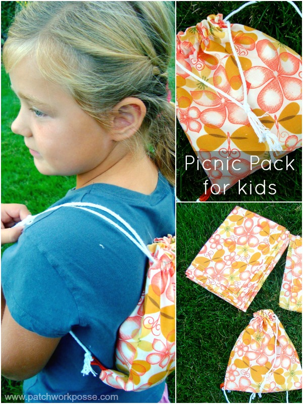 picnic pack set- cinch backpack, napkins, cloth | patchworkposse #freepattern #kidsactivities