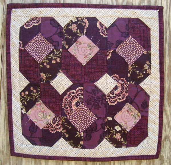 purple pansies doll quilt