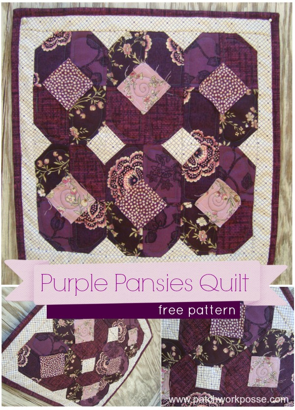 free small quilt pattern | LIttle Purple Pansies | patchworkposse.com