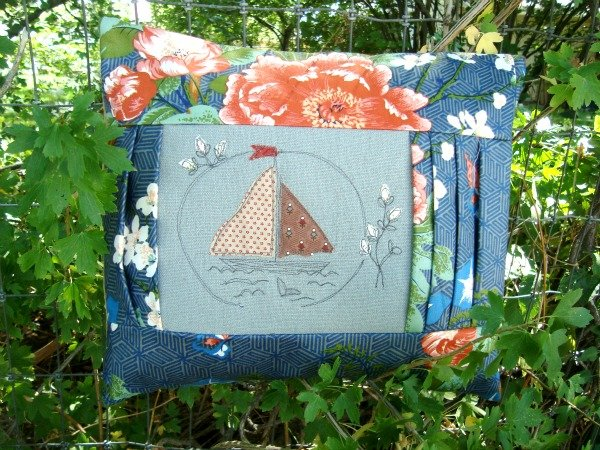 Boat Embroidery Stitched Pillow tutorial with pleated sides