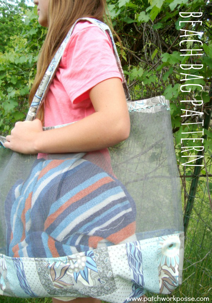 beach bag pattern with mesh sides. look how big it is- holds more than 1 towel! plus the sand can escape!