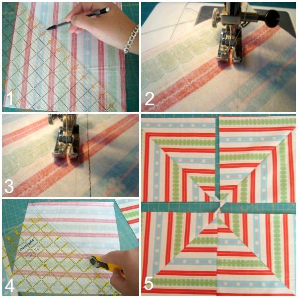 quilt block striped fabric tutorial