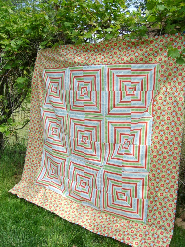 quilt squares with striped fabric