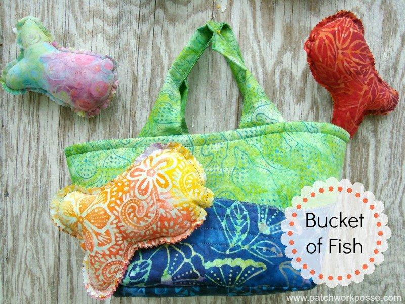 Handmade Fish Toss Game with Fabric Bucket