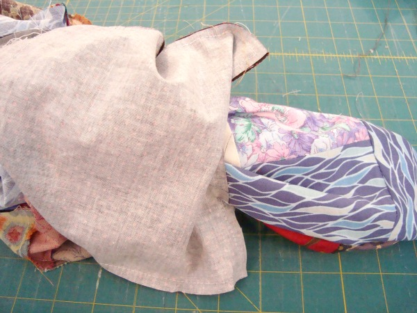pull fabric through hole for turning