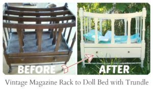 vintage magazine rack to doll bed and trundle tutorial #upcycle #diy / patchwork posse