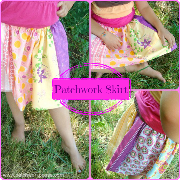 patchwork skirt tutorial-simple elastic waistband  skirt- great for any size girl / patchwork posse