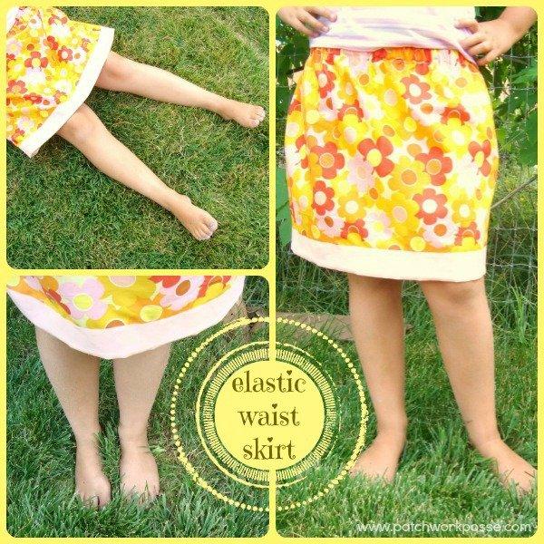 elastic waist skirt tutorial for girls. easy skirt to sew / patchwork posse