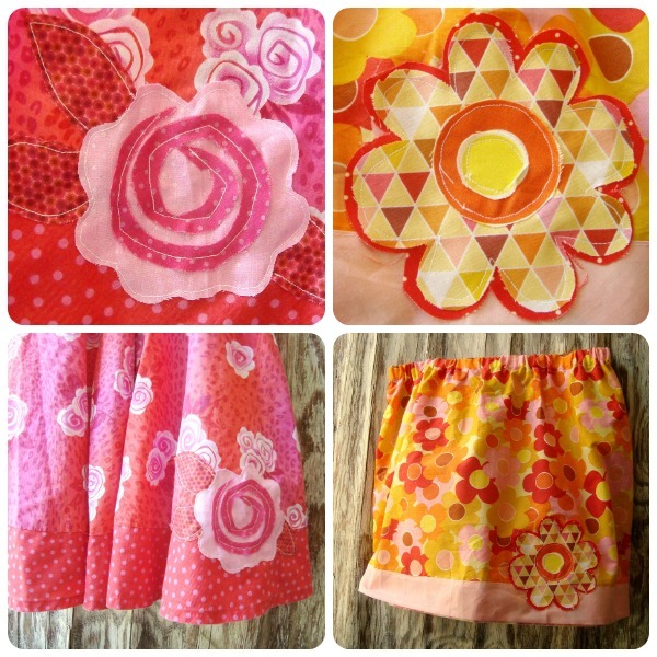 raw edge applique flowers on skirts