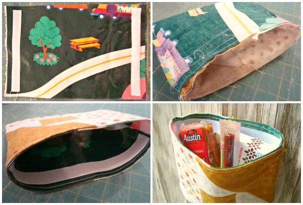 tutorial for reusable snack bags. super easy- velcro top / patchworkposse #tutorial #bag