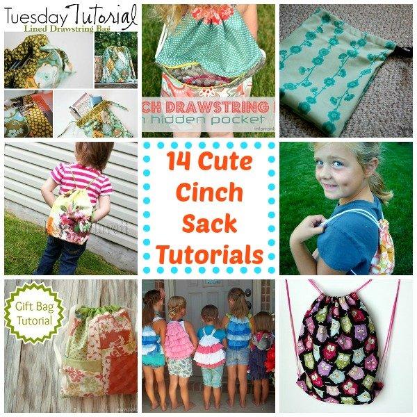 14 Cute Cinch Sack Tutorials / Patchwork Posse #roundup #cinchsack