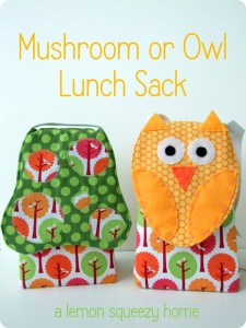 owl or mushroom free lunch bag tutorial by lemon squeezy