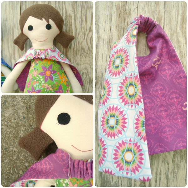 super hero dolls with reversible cape / patchwork posse
