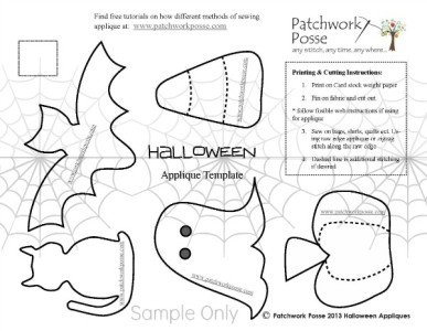 halloween applique pattern set / patchworkposse.com