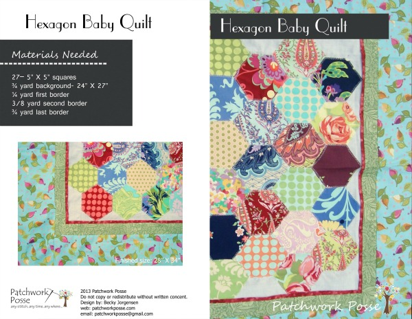 Hexagon Baby Quilt Pattern / patchworkposse.com