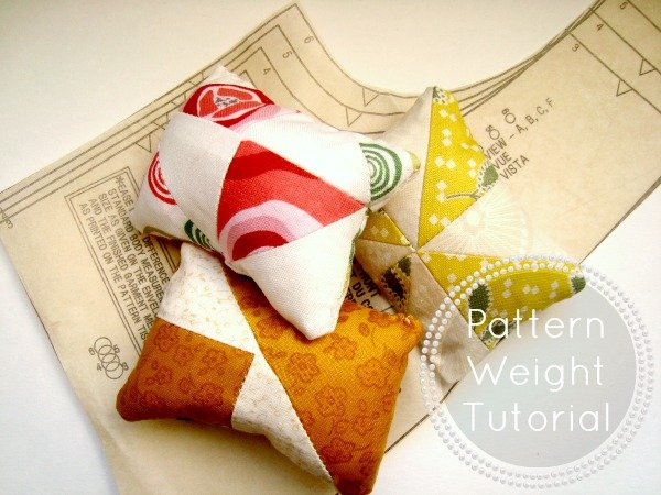 instead of striaght pins, make pattern weights with orphan quilt blocks / patchworkposse.com