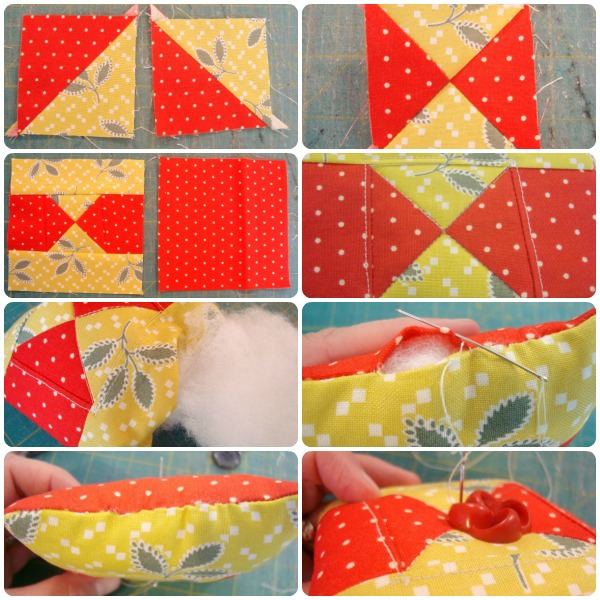 Use a quilt block to sew up a cute pin cushion! / patchworkposse.com #pincushion #tutorial
