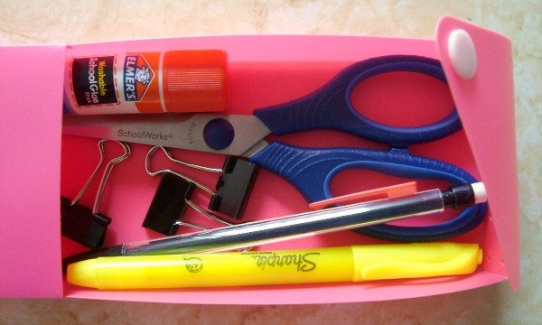 sewing notions in a pencil pouch.