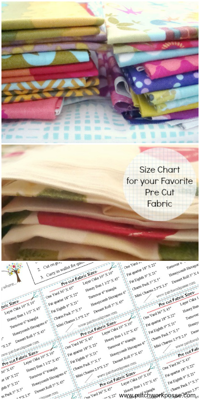 Dimensions of a fat quarter - What size if a fat quarter and other pre cut fabric measurements. This printable size chart will help you remember all of them!