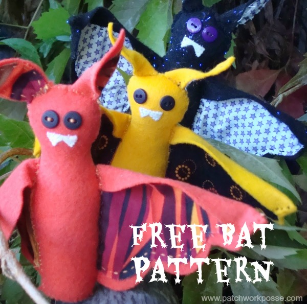 free bat pattern by patchworkposse.com  hand sew quick stitch