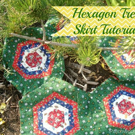 Hexagon Log Cabin Quilt block tree skirt tutorial