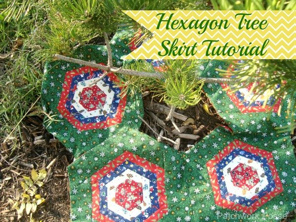 Hexagon Log Cabin Quilt block tree skirt tutorial