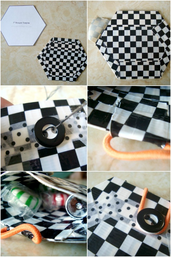 Learn how to make a pouch using a hexagon and duct tape | patchworkposse.com
