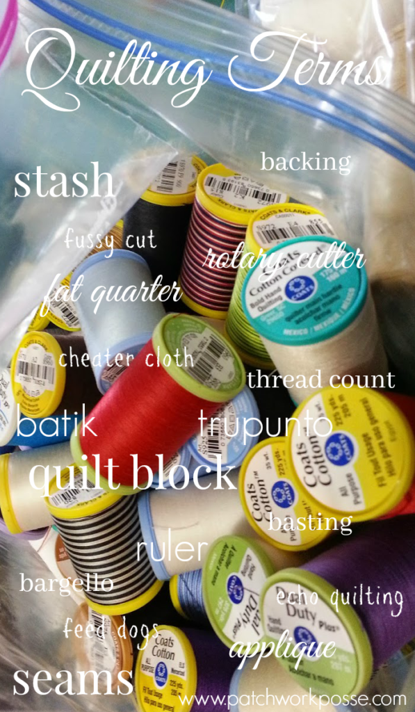 quilting terms - this list is so helpful when I find things I don't know or understand.  Those moments when I'm clueless- this comes in so handy!