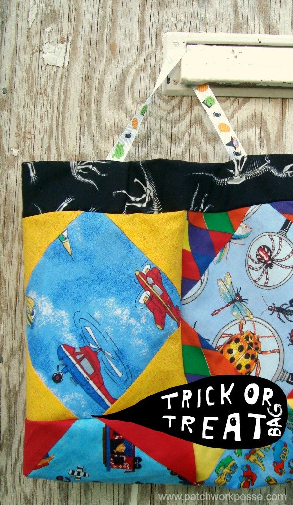 Halloween Bag for trick or treat sewn with eye spy quilt blocks / patchworkposse.com