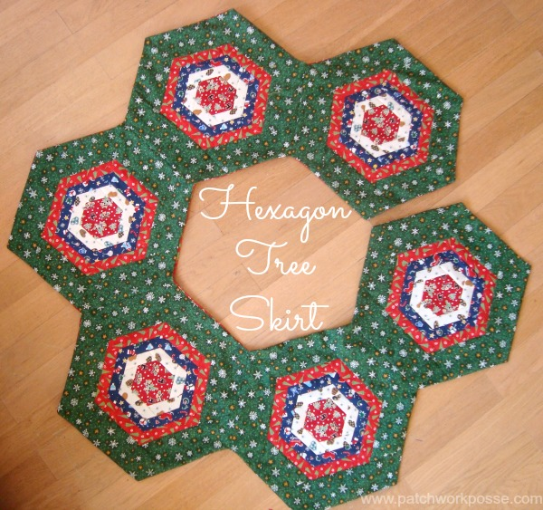 """""""Hexagon Tree Skirt"""" Free Christmas Tree Skirt Pattern designed by Deby from Sew Sew Easy"""