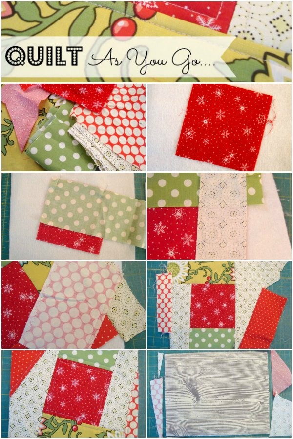 Learn how to quilt as you go- tutorial. Great for small sewing projects. #quilt #howtoquilt