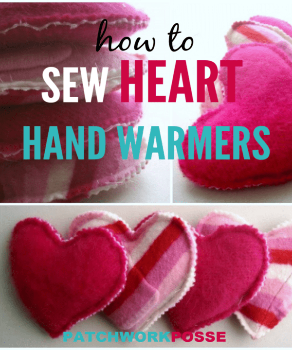 Learn how to sew hand warmers in the shape of hearts! Use felted wool and rice to sew up this quick project. Great for any season and sewing ability! #sewing #diy #winter