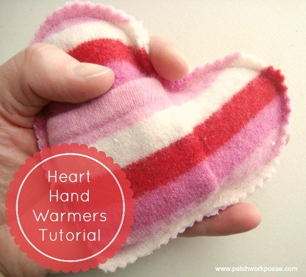 hand warmer tutorial- heart shaped #valentines Patchwork Posse