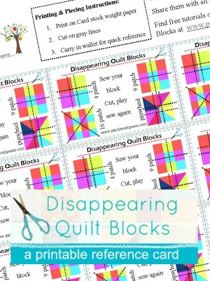 Printable Disappearing Quilt Block Reference cards | free | patchwork posse