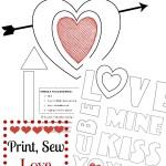 Free Valentine Applique Printable XOXO