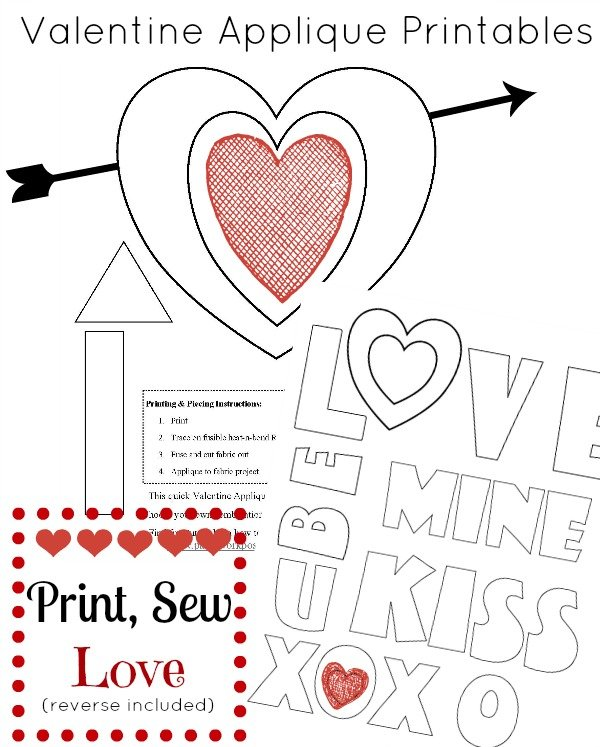Free Valentine Applique Printable XOXO