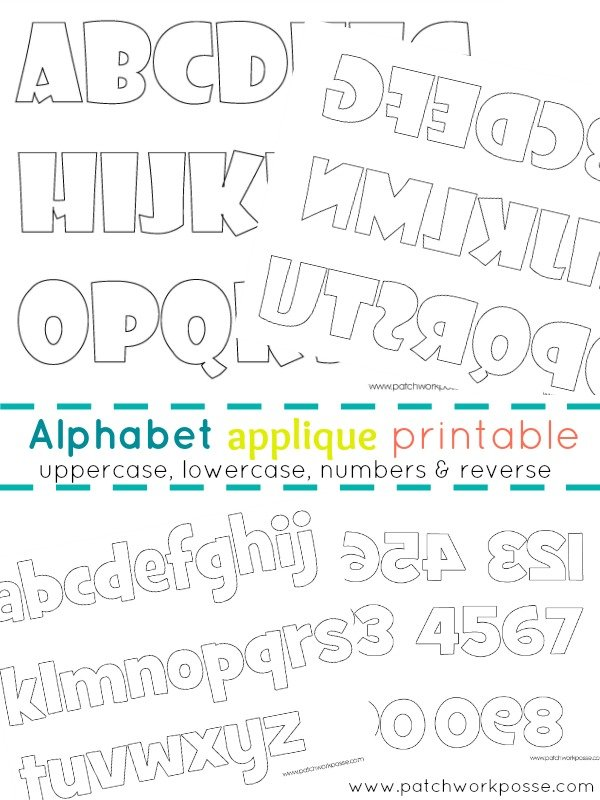 alphabet applique printable   patchwork posse #applique #quilting