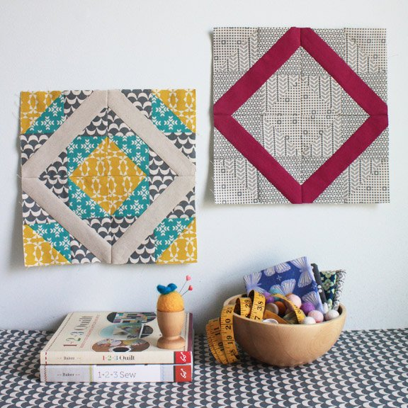 double-diamond-quilt-block | Round Robin | patchwork posse #freepattern #quiltblock