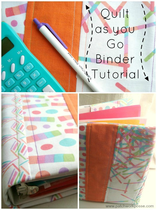 quilt as you go binder tutorial Use the quilt as you go method for sewing up a 3 ring binder cover. Great for back to school, or just keeping organized. | patchwork posse | #quiltasyougo #bookcover