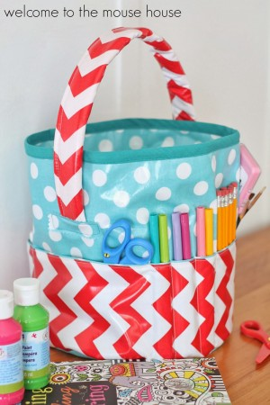 fabric basket with outside pockets