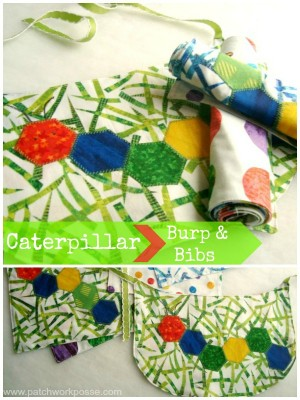 caterpillar applique tutorial | bib and burp rag | patchwork posse #applique #hexagon