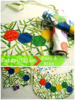 caterpillar applique tutorial | bib and burp rag | patchwork posse #applique #hexagon